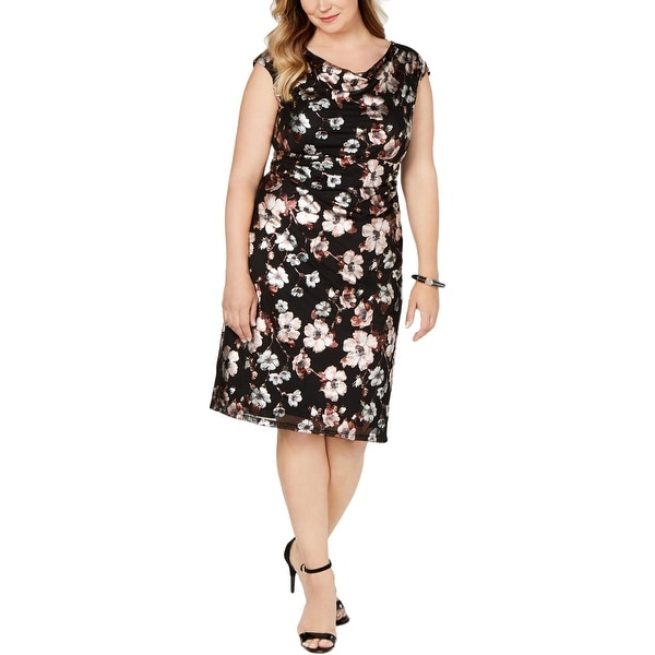 Connected Apparel Womens Plus Sheath Dress Floral Print Cowl Neck - Black. Opens flyout.