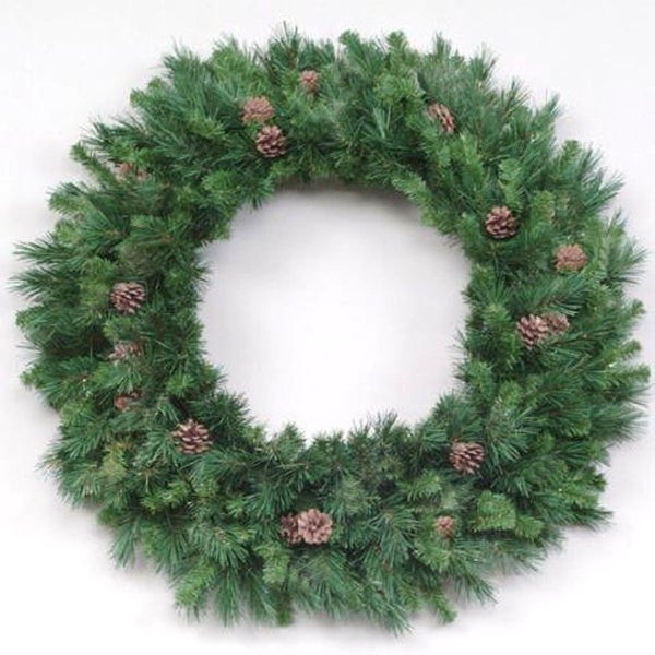 8' Cheyenne Pine with Cones Artificial Commercial Christmas Wreath - Unlit - green