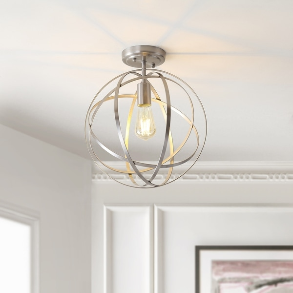"""Alma 13"""" Metal LED Flush Mount, Nickel by JONATHAN Y - Silver. Opens flyout."""