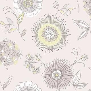 Brewster 2535-20684 Maisie Purple Floral Burst Wallpaper