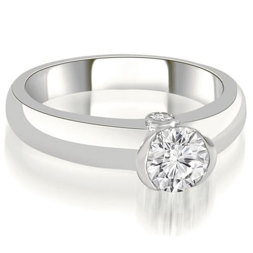 0.52 cttw. 14K White Gold Bezel Set Round Cut Diamond Engagement Ring