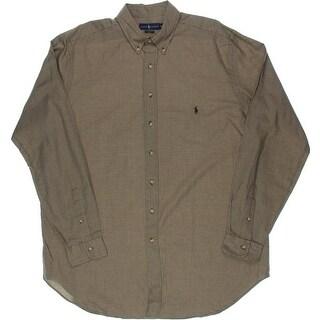 Ralph Lauren Mens Classic Fit Houndstooth Button-Down Shirt - xlt