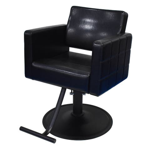 AYLA Salon Styling Chair BLACK Leather with Adjustable Height Pump