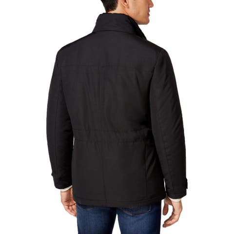 Kenneth Cole New York Mens Coat Winter Faux Sherpa - Black