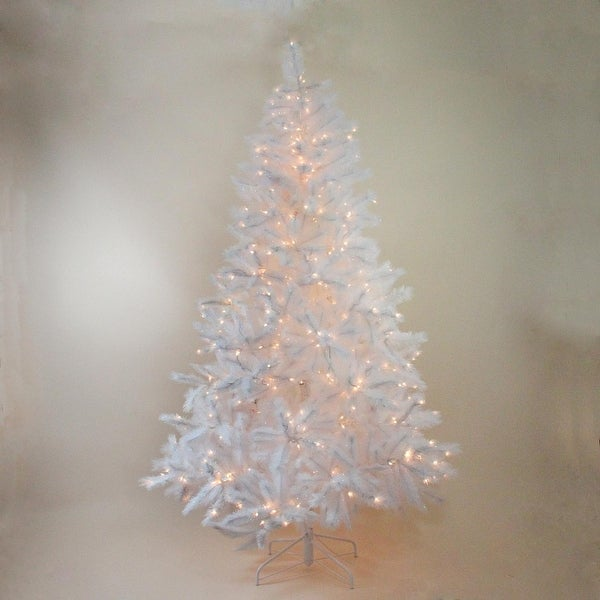 "7.5' x 55"" Pre-Lit Sparkling White Alaskan Pine Artificial Christmas Tree - Clear Lights"