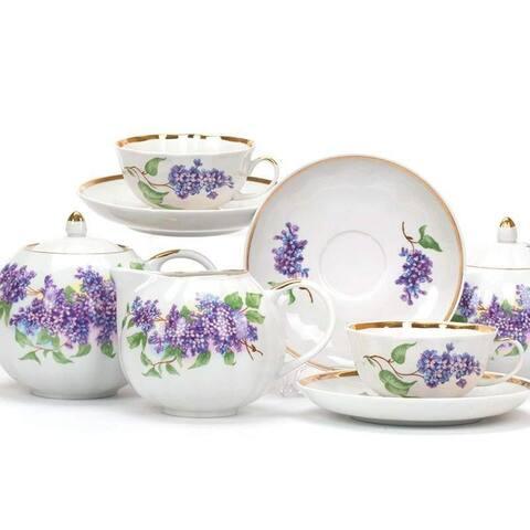 Dulevo Porcelain Lilac Gold Rim 15 pc. Fine China Tea Set for 6