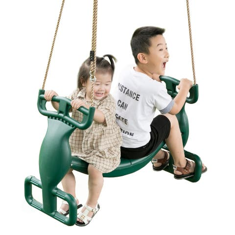 Plastic Double Glider Playground 2 Person Swing, Green