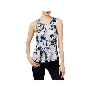 Kensie Womens Pullover Top Peplum Floral Print