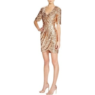 French Connection Womens Pale Lunar Cocktail Dress Sequined Sheath