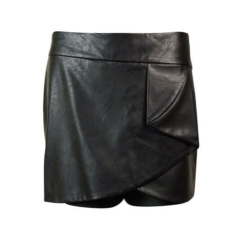 INC International Concepts Women's Faux Leather Skort - Deep Black
