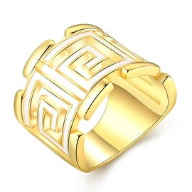 Gold Plated White Lining Square Ring