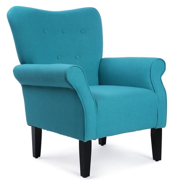 Belleze Living Room Modern Wingback Armchair Accent Chair High Back Linen,  Mallard Teal