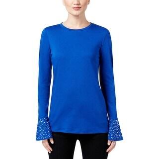 MICHAEL Michael Kors Womens Petites Pullover Top Knit Studded - pl