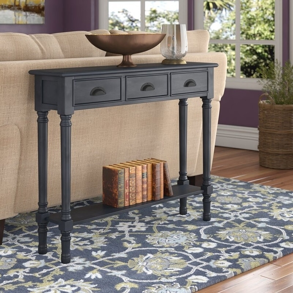 """Burlington 3-Drawer Wood Console Table, 39.5"""" Wide. Opens flyout."""