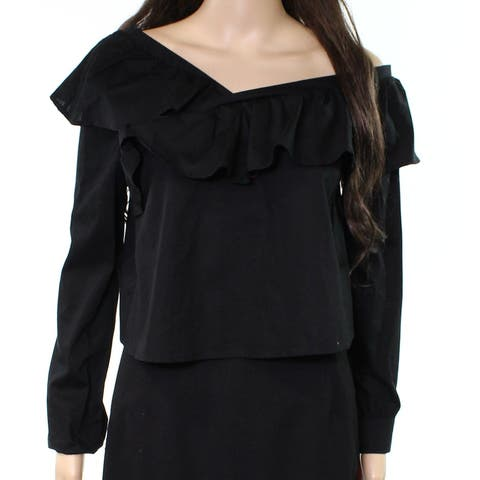 Love Fire Black Womens Size Large L Ruffled Off-Shoulder Blouse
