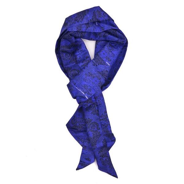 59b410582 Shop Roberto Cavalli Blue Black Silk Emblem Print Angular Tip Scarf~ RTL  $425 - One Size - Free Shipping Today - Overstock - 26429602