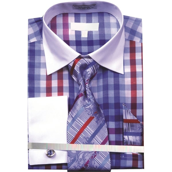 Men/'s Multi Color Check French Cuff Shirt Tie Hanky and CuffLinks