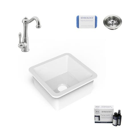 """Amplify Undermount Fireclay 18.1"""" Bar Prep Sink with Marielle Faucet and Drain"""