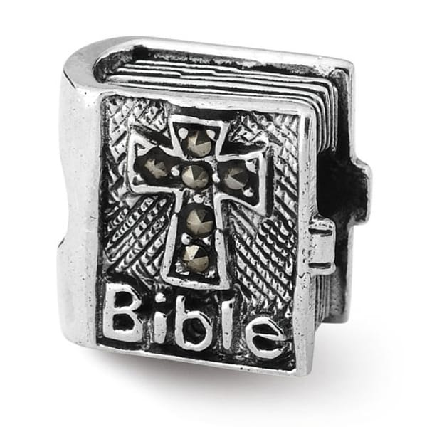 Sterling Silver Reflections Marcasite Cross Bible Bead (4mm Diameter Hole)