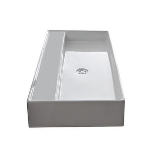 "Nameeks 8031/R-120B  Scarabeo 47-1/4"" Ceramic Bathroom Sink for Vessel or Wall Mounted Installation"
