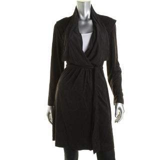 NY Collection Womens Faux Suede Wrap Jacket