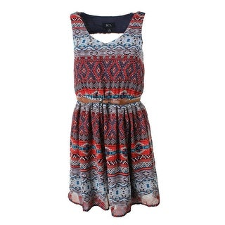 BCX Womens Juniors Casual Dress Printed Open Back - M
