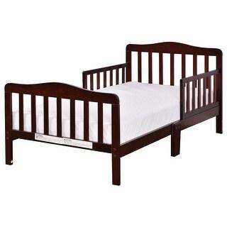 Costway Baby Toddler Bed Kids children Wood Furniture w/ Safety Rails Brown