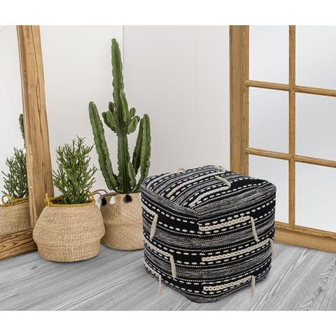 Chic Home Spiro Ottoman Woven Cotton Upholstered Square Pouf