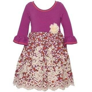 Bonnie Jean Little Girls Purple Stripe Floral Flared Cuffs Casual Dress