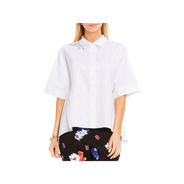 b08e3617aaf Shop Vince Camuto Womens Button-Down Top Oversized Hi-Low - m - Free ...