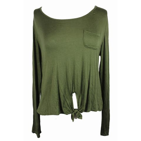 Rebellious One Juniors Olive Tie-Front Knit Top L