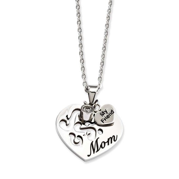 Stainless Steel Mom with CZ and My Friend Pendant 24in Necklace (1 mm) - 24 in