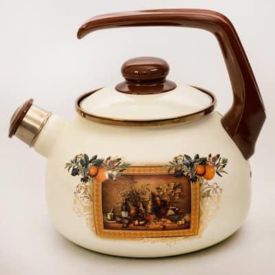 MET-ROT 2.7-Quart Antique Painting Enamel on Steel Whistle Tea Kettle