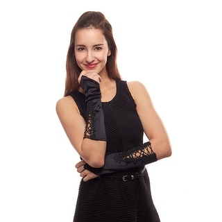 Secret Garden Satin Fingerless Elbow Length Gloves with Embroidery