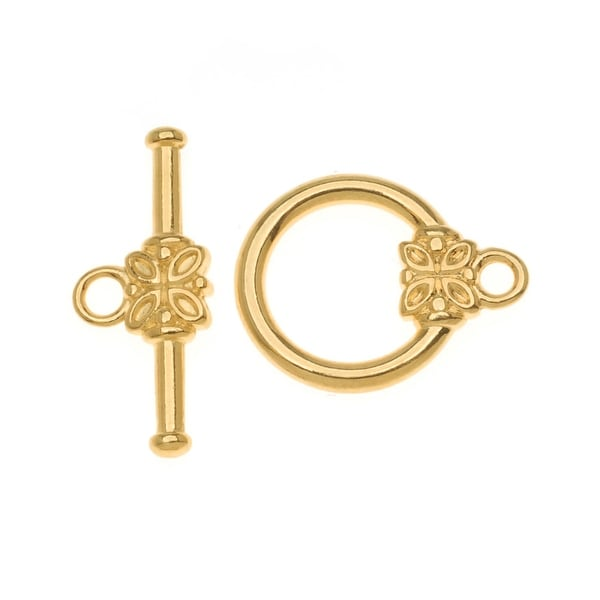 22K Gold Plated Flower Toggle Clasps 14mm (5 Sets)