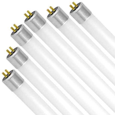 Luxrite 4FT LED Tube Light, T5 HO, 25W (54W Equivalent), 3200 Lumens, Ballast Bypass, 120-277V, G5 Base (6 Pack)