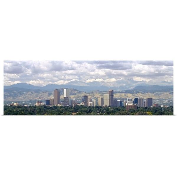 """Clouds over skyline and mountains, Denver, Colorado"" Poster Print"