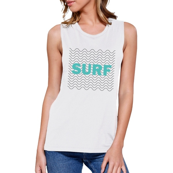 0d0ee76f811 Shop Surf Waves Womens White Muscle Tank Top Cool Summer Cotton ...