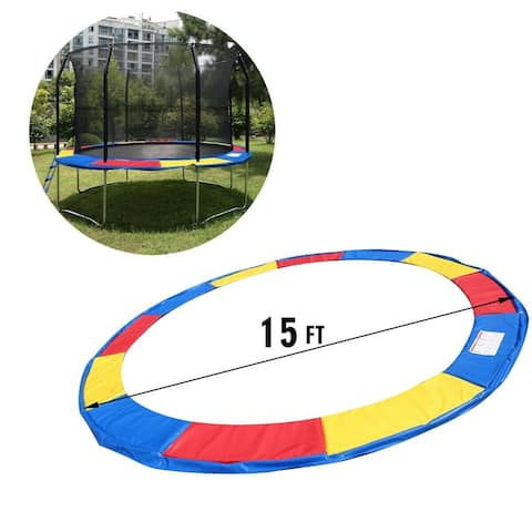 Gymax 15 FT Trampoline Safety Pad Spring Cover Frame Replacement Multi