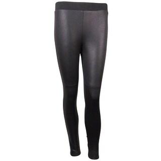 Karen Kane Women's Lifestyle Crackled Faux Leather Legging Pants - Black - XS