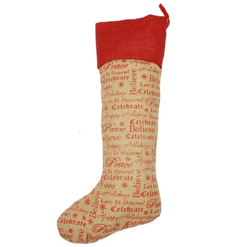 Believe Burlap Stocking