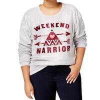 Hybrid Gray Women's Size 1X Plus Weekend Warrior Graphic Sweater