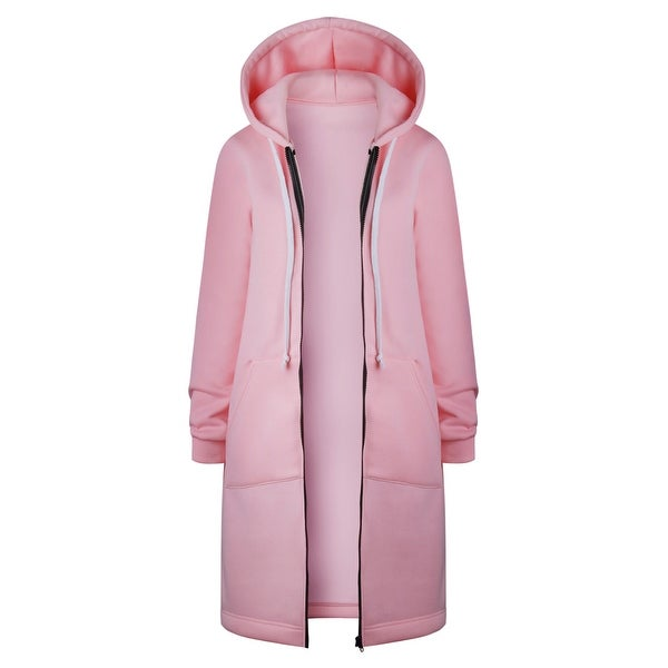 Women's Hoodie Mid-Length Plus Velvet Pocket Hooded Zipper Trench Coat. Opens flyout.
