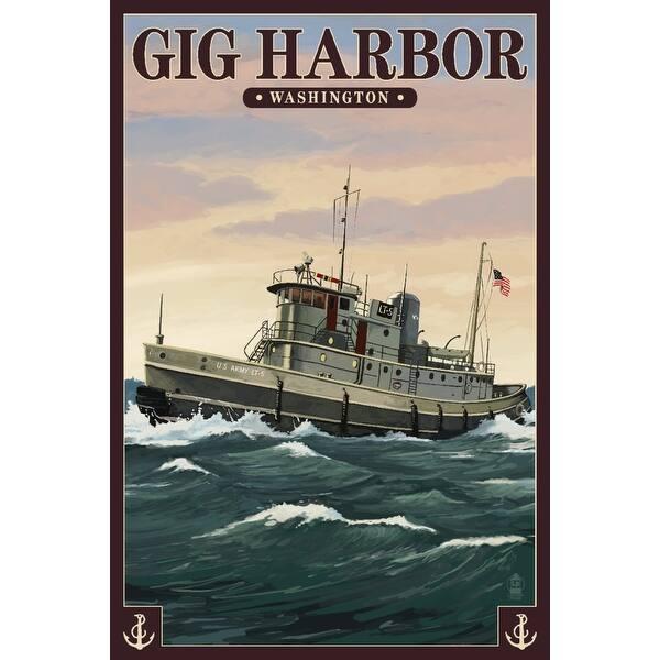 Gig Harbor, Washington - Tugboat & Sunset - Lantern Press Artwork (Art  Print - Multiple Sizes Available) - 9 x 12 Art Print