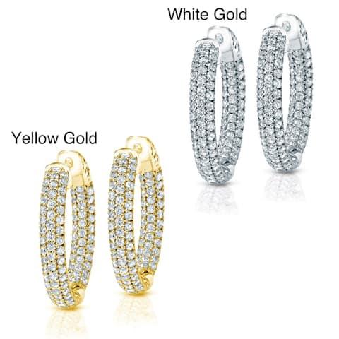 Auriya 14k Gold 4 1/2ctw Medium Pave Diamond Hoop Earrings - 1.25-inch