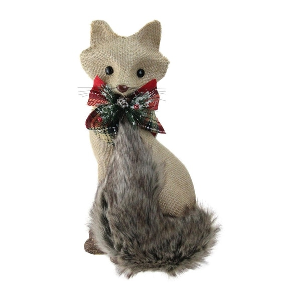 """13.25"""" Holiday Moments Sitting Brown Fox with Tail Curled Christmas Decoration"""