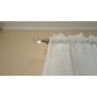 Arlo Blinds Adjustable Brushed Nickel Drapery Rod Set with Diamond Prism Clear Glass Finial