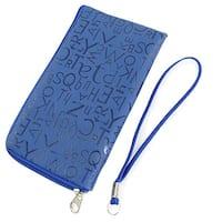 Unique Bargains For Smart Phone Letters Print Blue Faux Leather Soft Bag