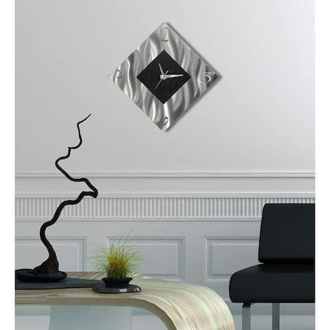 Statements2000 Black/Silver Modern Metal Wall Clock Art Accent Decor by Jon Allen - Prediction Clock