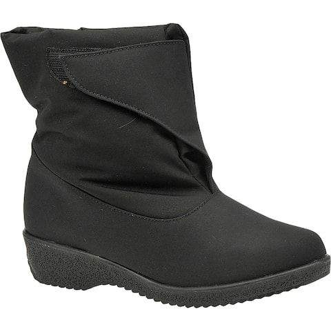 Toe Warmers Womens Easy On Wedge Boots Cold Weather Waterproof - Black - 10 Extra Wide (E+, WW)
